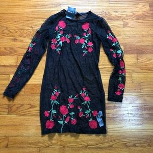 Forever 21 black knit dress with red flowers
